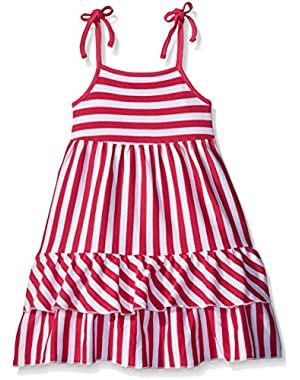 Girls' Fuchsia Primary Stripe Tiered Sleeveless Dress