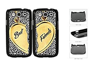 Heart Locket Black Leopard Best Friends Set Hard Plastic Snap On Cell Phone Case Samsung Galaxy S3 SIII I9300