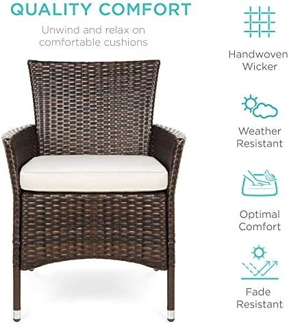 Best Choice Products Set of 2 Modern Contemporary Wicker Patio Furniture Dining Chair