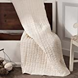 Piper Classics Clara's Cottage Natural Quilted Throw, 70x55, Oversized, Vintage Farmhouse Décor, Quilted Seersucker Style Cream Throw
