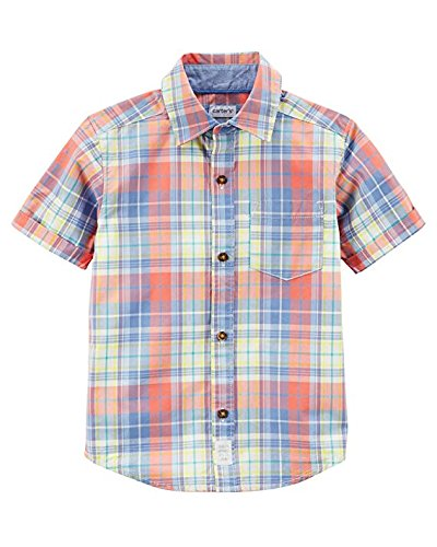 - Carter's Boys' Short-Sleeve Button-Front Shirts (Red Plaid, 4T)