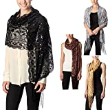 Women's Flower Sequin Decor Evening Wrap Shawl Party Scarf with Tassel (Black)