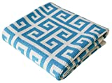 Stroller Nursery Cotton Baby Blanket, Turquoise blue, Greek Key, 30 x 40 inches