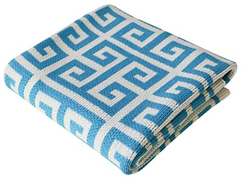 Soft Cotton Knit Baby Stroller Nursery Blanket - Turquoise blue | Greek Key 30