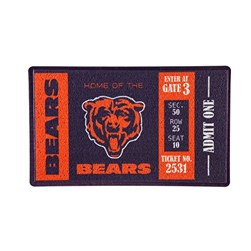 Team Sports America Chicago Bears Recyclable PVC Vinyl Indoor/Outdoor Weather-Resistant Team Logo Door Turf Mat from Team Sports America