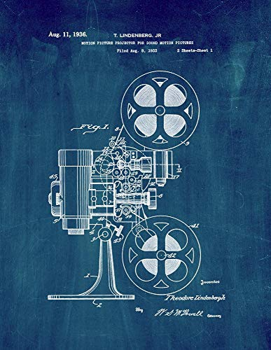 Motion Picture Projector for Sound Motion Pictures Patent Print Midnight Blue (5