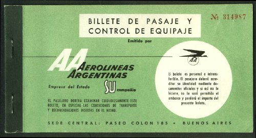 Aerolineas Argentinas AA used airline passenger ticket & baggage check 1960