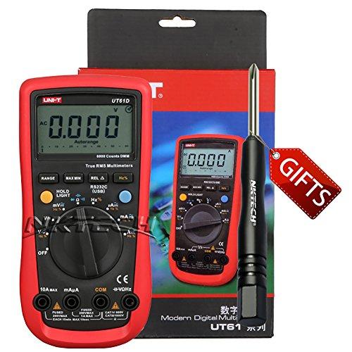 Rs 232 Voltage - NKTECH TL-1 Screwdriver UNI-T UT61D Auto Range True RMS Digital Multimeter AC DC Voltage Current Capacitance Frequency Resistance Backlight 6000 Count Ohmmeter RS-232 Tester Meter