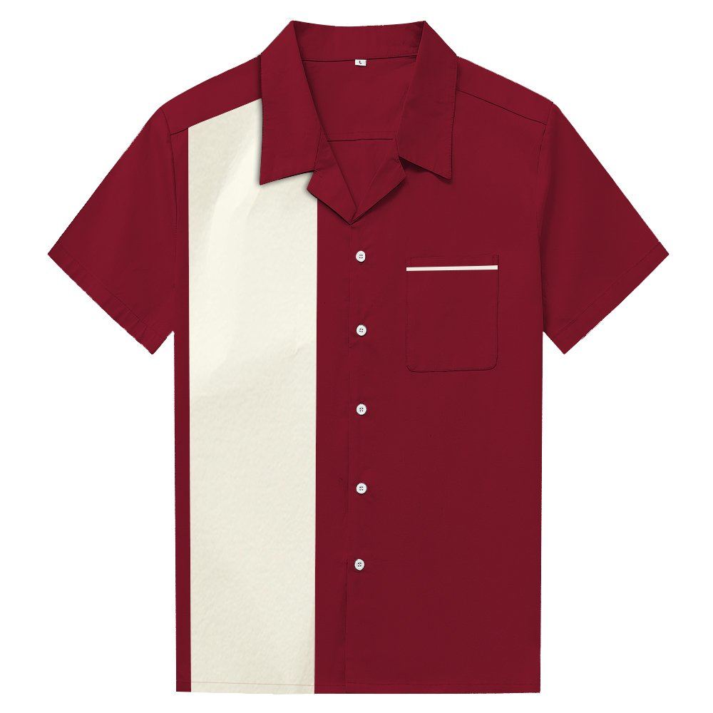 1950s Men's Clothing Anchor MSJ Mens 50s Male Clothing Rockabilly Style Cotton Mens Shirts Short Sleeve Fifties Bowling Casual Button-Down Shirts $25.88 AT vintagedancer.com
