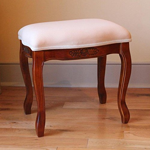 International Caravan 3863-IC Furniture Piece Wood Stool with Cushioned Top by International Caravan