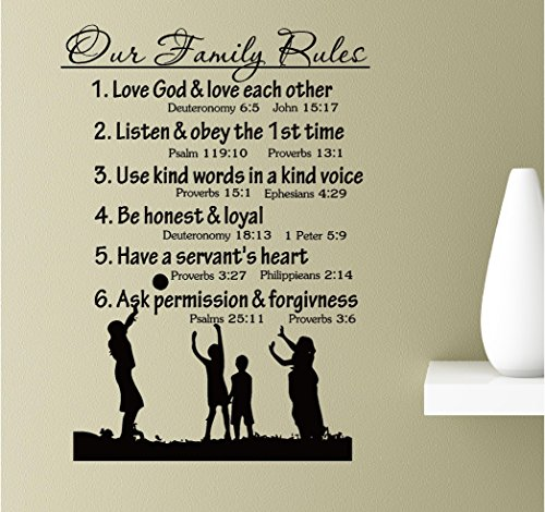 Our family Rules: Love God and love each others, listen and obey the fist time Vinyl Wall Art Inspirational Quotes Decal Sticker