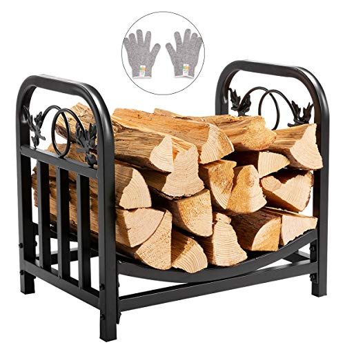 DOEWORKS 18 Inches Decorative Indoor/Outdoor Firewood Racks Fireside Log Rack, Black
