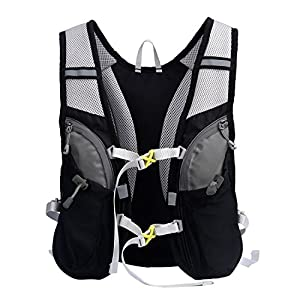LANZON 2L Hydration Pack & FDA Approved Water Bladder, Running Vest (New Black pack with 2L water bladder)