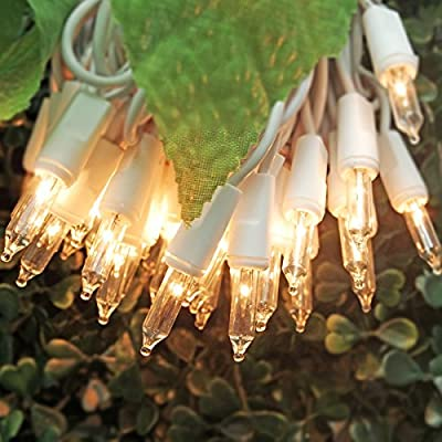 On'h Christmas Lights 50 Clear Bulbs Mini String Lights Set Warm White Indoor Lighting for Christmas Tree Wedding Outdoor Backyard Party Bedroom White Wire