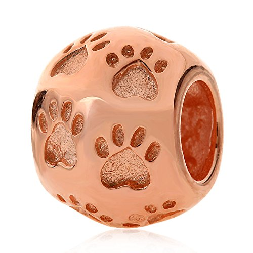 Rose Gold Footprint Charm 925 Sterling Silver Charm Foot Charm For fit Charm Bracelets