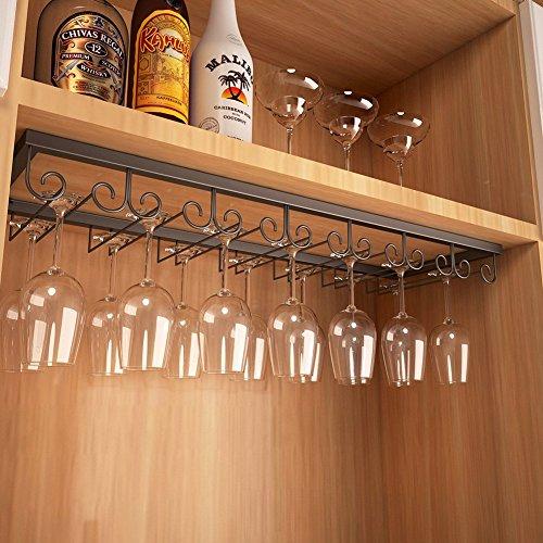 Lzttyee Iron 7-slot Wall Mount Wine Glass Hanger Stemware Rack Modern Kitchen Bar Under Cabinet Wine Glasses Storage Organizer Holder (Black) by Lzttyee
