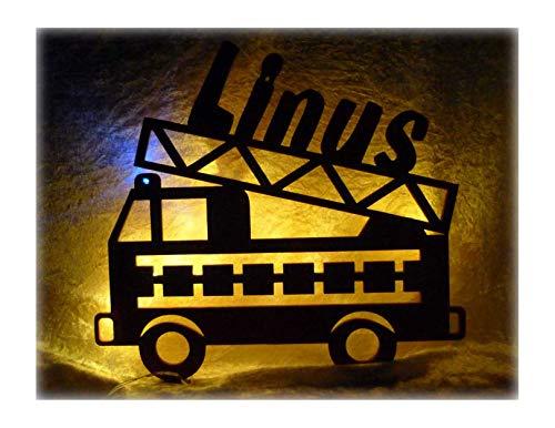 Schlummerlicht24 3d Deko Motive Led Lampe Feuerwehr Blaulicht Name -  Geschenk für Kinder Feuerwehrauto Feuerwehrzimmer Rot