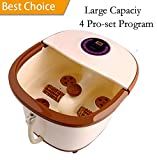 All in One Foot Spa Massage with Motorized Rolling Massage- One Button to Start & 4 Pro-Set Program - Water Spray, Heating, Rolling Massage, Temperature Setting