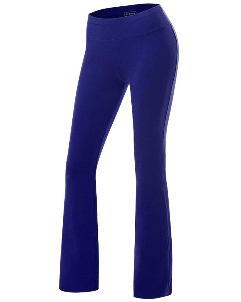 bluee Women's Yoga Pants Tummy Control Workout Running 4 Way Stretch Boot Leg Yoga Pants