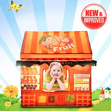 Kids Play House Tent - Indoor Children Pretend Playhouse w/16 Fruits + Doorbell - Best Birthday Gifts for Girls/Boys/Toddlers -
