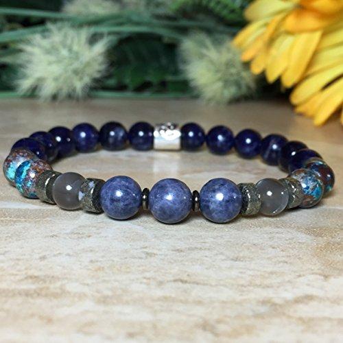 Womens Cancer Zodiac Bracelet, Chrysocolla Bracelet, Genuine Sapphire Bracelet, Gray Moonstone Bracelet, Sodalite Astrology Bracelet, Gift For ()