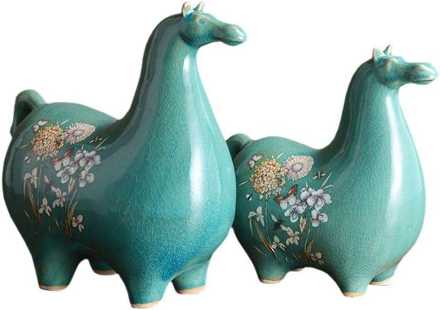 Estatua 2PC Modelo Simple de Caballo Figuras artesanales de cerámica Miniaturas Creativas de Caballos Accesorios para la decoración del hogar Regalos de cumpleaños Juguete para niños, A, AS, I