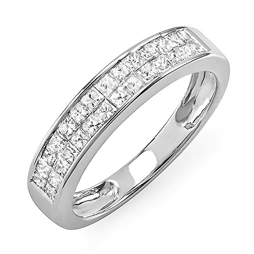 0.85 Carat (ctw) 14k White Gold Princess Diamond Invisible Set Ladies Anniversary Wedding Band Ring (Size (0.85 Ct Ladies Diamond)
