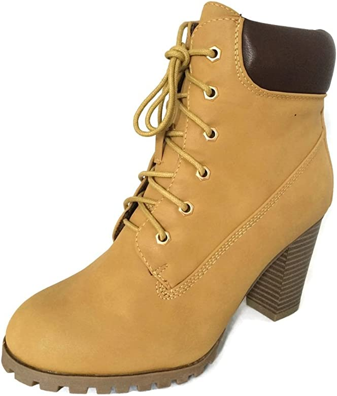 6cfb93195bd KSC Womens Rugged Lace Up Stacked High Heel Ankle Boots,Color:Camel,Size