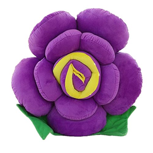 Paao Soft Plush Party Decor Toy Pillow Cushions Lovely Rose Flower Shape Christmas Gift,Purple