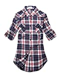 Match Women's Long Sleeve Plaid Flannel Shirt #2021(Large, Checks#7)