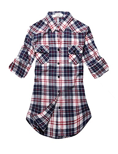 Match Women's Long Sleeve Plaid Flannel Shirt #2021(Medium, Checks#7)