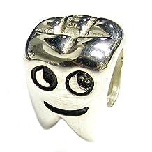 .925 Sterling Silver Smily Tooth Bead For European Chamilia Biagi Troll Pandora Charm Bracelets