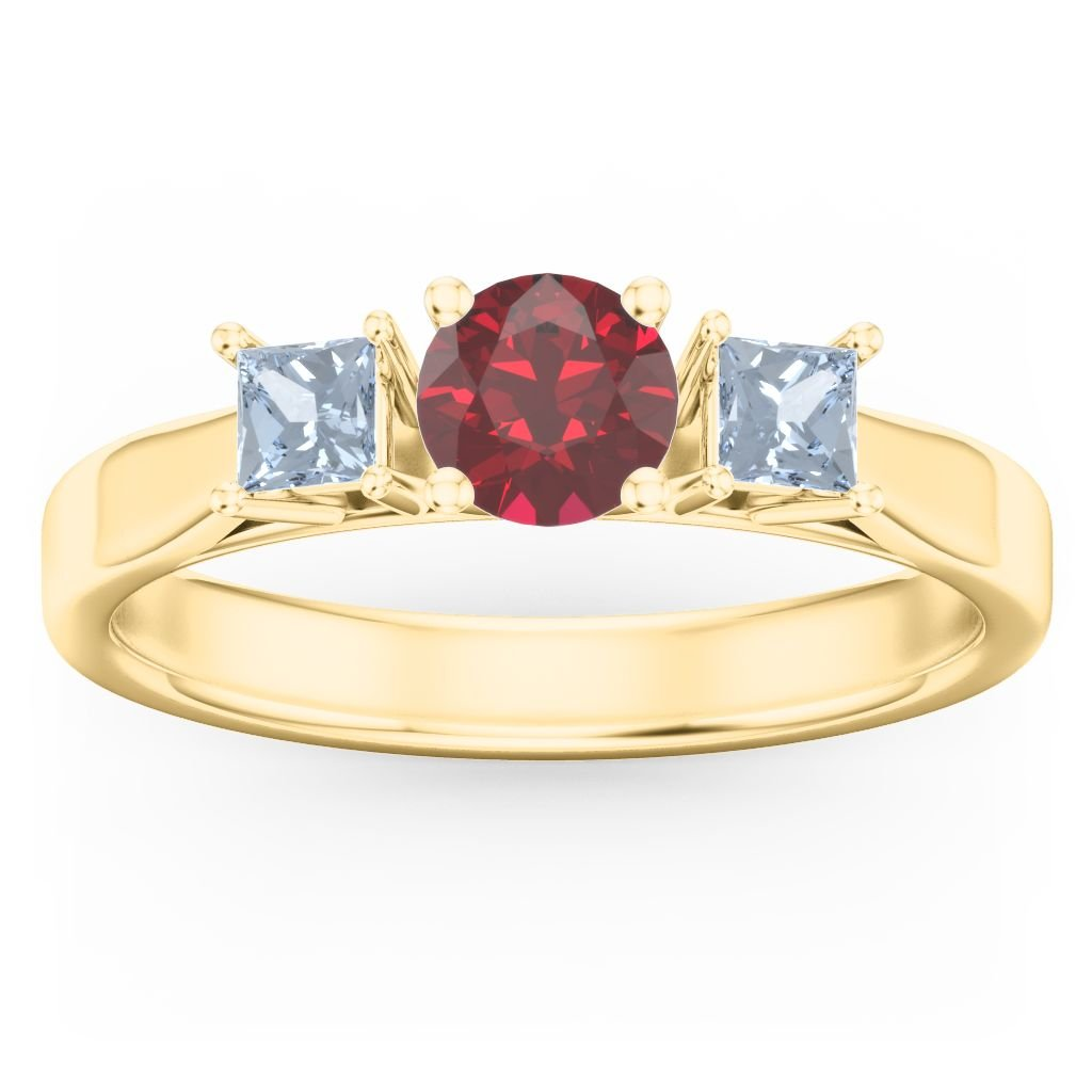 10K Gold Three Stone Eternity with Princess Accents Ring and Personalized Birthstones by JEWLR