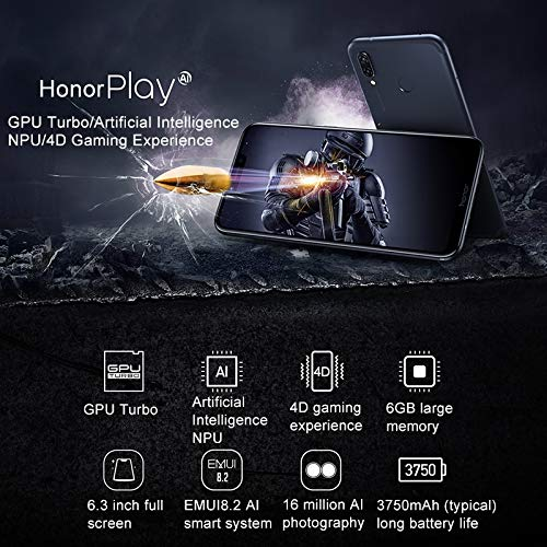 Amazon.com: Huawei Honor Play COR-AL10 6GB+64GB 6.3 inch Android 8.1 Kirin 970 Octa Core + Micro Nuclei i7 GSM & WCDMA & FDD-LTE (Black): Cell Phones & ...