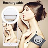 Rechargeable Selfie Ring Light, Leadpo [Super Slim] Selfie Light Ring 3-Level Brightness 36 LED Portable for Phone Camera Photography Video; Clips on Night Ring Fill Light (Rechargeable-3 Level White)