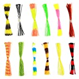 Soft Silicone Jig Skirts 600 Strands Assorted Color Rubber Lure Skirts for DIY Spinnerbaits Buzzbaits Spoon Blade Squid Skirt Replacement, Color Random