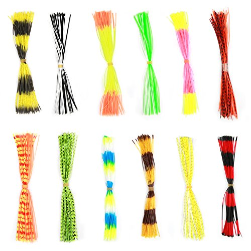 (Vbestlife Soft Silicone Jig Skirts 600 Strands Assorted Color Rubber Lure Skirts for DIY Spinnerbaits Buzzbaits Spoon Blade Squid Skirt Replacement, Color Random)