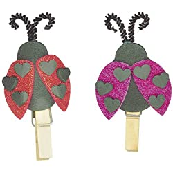 Valentine's Day Clothes Pin Heart Ladybug - Foamies Group Activity Craft Kit - (Pack of 2) Makes 32 (Magnets Not Included)