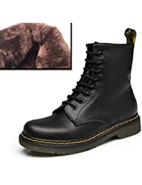 LOVEBEAUTY Women's Leather Lace up Ankle Bootie Winter Military Combat Boots