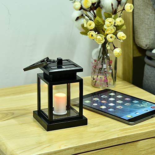 Outdoor Garden Led Candle Light, Waterproof Solar Power Wall Lantern Fence Lawn Lamp
