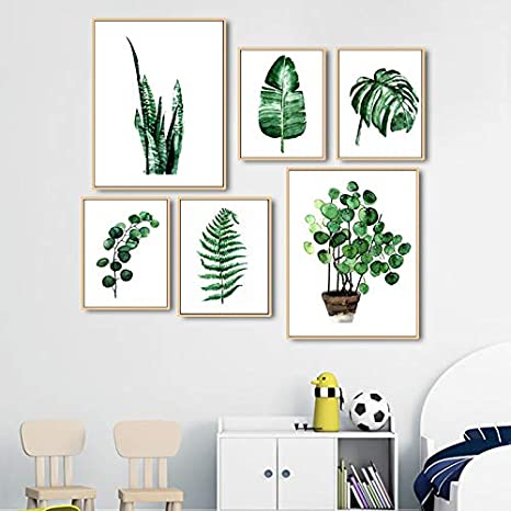 Vert Tropical Plante Feuilles Toile Art Poster D/écoration Murale Nature Tableau Moderne Design Impressions sur Toile Affiches Deco Salon PTLS005-S