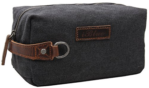 iblue-thick-leather-handle-canvas-toiletry-bag-dopp-kit-comestic-travel-case-i526-grey