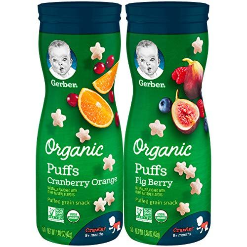 Gerber Up Age Snacks Variety Pack – Organic Puffs, 8Count