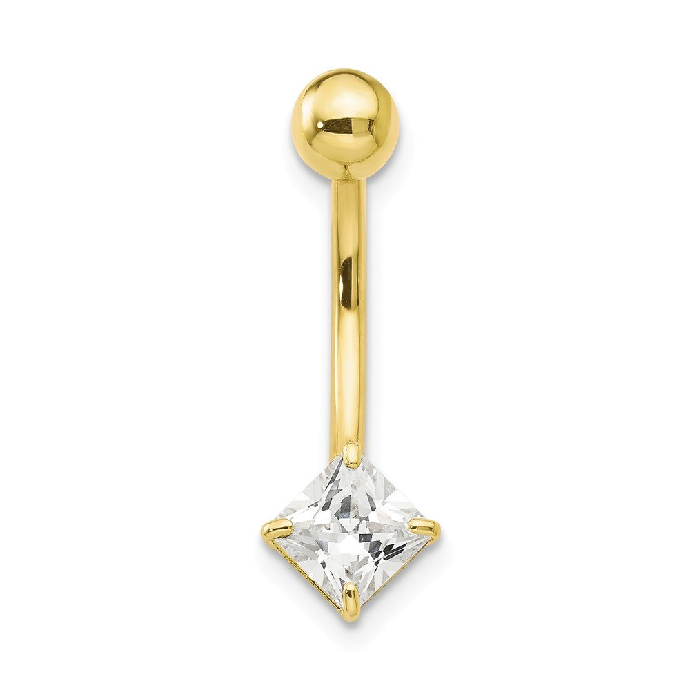 10k Yellow Gold Polished Open back Screw back With 5mm Square Cubic Zirconia Belly Ring Dangle