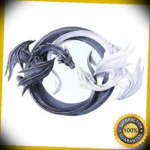 KARPP Feng Shui Ying Yang Day Night Twin Nemesis Dragon Round Wall Mirror Plaque Decor Perfect Indoor Collectible Figurines