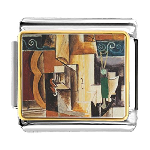 - GiftJewelryShop Gold Plated Violin and Guitar Painting Bracelet Link Photo Italian Charm