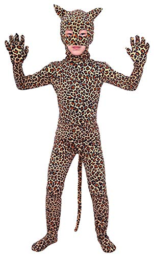 ATHX Kids Lycra Spandex Leopard Animal Planet Costume Bodysuit (Kids Medium, Leopard)