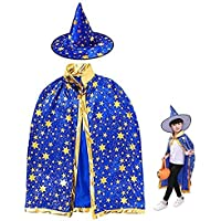 Halloween Witch Set,Kids Halloween Party Costume Witch Wizard Cloak Cape Hat Child Halloween Carnival,Age 3-12 Halloween…