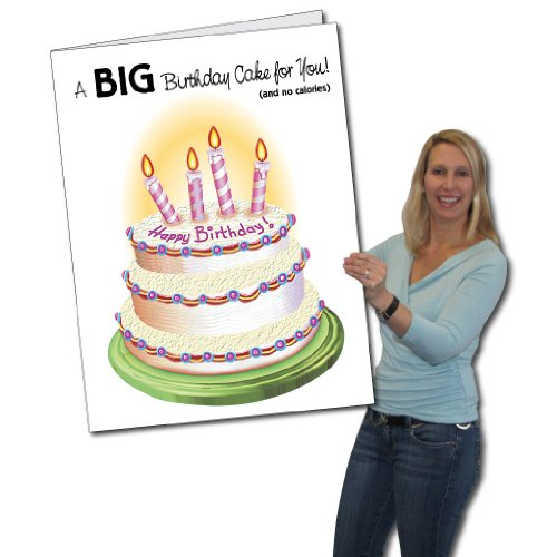 Amazon 2x3 Giant Birthday Cake Birthday Card WEnvelope – Oversized Birthday Cards