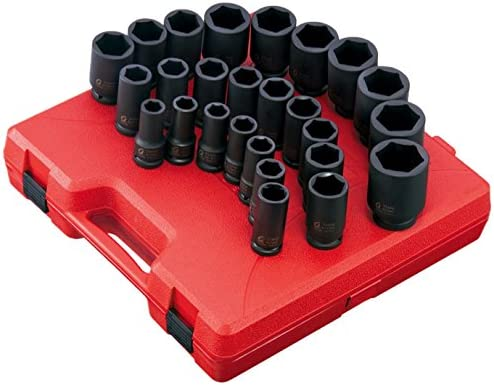 Sunex 3654 7 Piece 3//8-Inch Drive Standard Fractional Universal Socket Impact Set